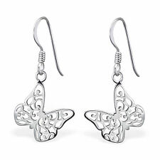 925 Sterling Silver Butterfly Earrings cute drop dangle hook boxed