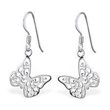 925 Sterling Silver Butterfly Earrings cute drop dangle hook boxed