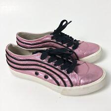 Robin's Jean Women's Cleopatra Pink Metallic Leather Sneakers Zipper Size 6