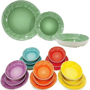 Servizio da tavola di piatti per 6 persone in ceramica colorati moderni eleganti