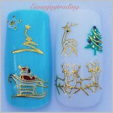 Nail Art 3D  Decals/Stickers Christmas Trees, Reindeer, Santa&Sleigh#176