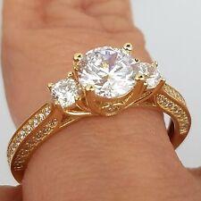 1.45 carat 14k yellow Gold 3 stone man made Round Diamond Engagement Ring S 8