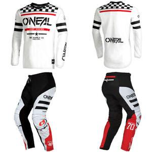 O'Neal Element Squadron White Jersey Pants motocross dirt bike gear bundle set