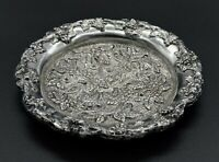VINTAGE EMBOSSED FLORAL ORNATE RING TRINKET SEWING DISH COSATER SILVER PLATED
