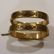 "1860s VICTORIAN MATCHING PAIR GOLD FILLED ETCHED BANGLE BRACELETS 3/8"" WIDE"