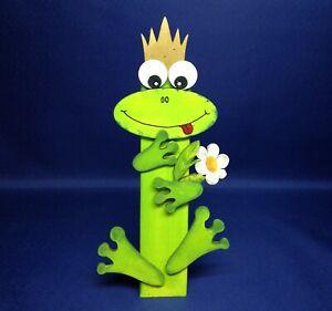 """Bastelset: Pfahlfigur """"Frosch mit Blume"""" ca. 21cm"""