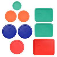 Pyrex 7202 Green, 7200 Orange, 7201 Blue, 7201 Red, 7210 Green, 7211 Red Lids