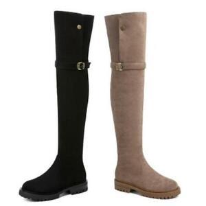 Women Flats Low Heel Fleece Lining Winter Warm Over The Knee High Boots 34/43 L