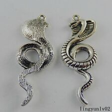 10pcs Antique Silver Alloy Cute Snake Cobra Charms Pendant Findings Crafts 50930