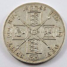 GREAT BRITAIN 1889 DOUBLE FLORIN VF+ CONDITION .6727 oz. VICTORIA .925 SILVER