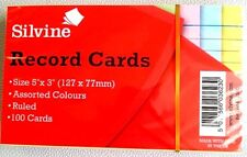 """Silvine Record Cards 5"""" X 3"""" (127 X 77) Ruled Revision card Assorted Colours"""