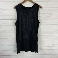 Apt. 9 Sleeveless Shimmer Front High Low Hem Tunic Top Size XL Black NWT