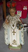 BIG Vintage 1930s Ceramic Jesus Infant of Prague Statue Missing Finger CS 145