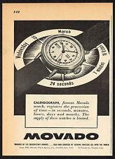 1940's Vintage 1945 Movado Calendograph Watch - Paper Print AD