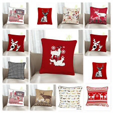 """Christmas 100% Cotton Cushion Covers Stag Snow Flakes Reindeer  Size 18""""x18"""""""
