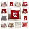 "Christmas 100% Cotton Cushion Covers Stag Snow Flakes Reindeer  Size 18""x18"""