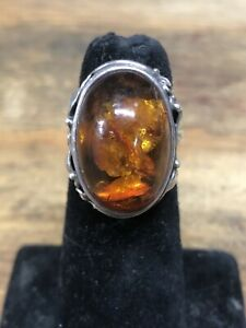 Sterling Silver Natural Amber Ring, Size 7 1:4