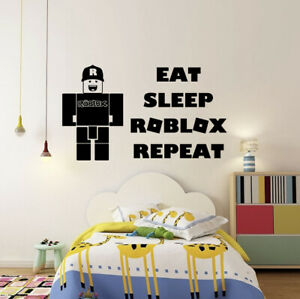 Eat Sleep Roblox Repeat Gaming Vinyl Wall Stickers Gamers Silhouette Decals Kids