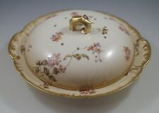 ANTIQUE c.1880 HAVILAND LIMOGES LARGE PANCAKE OR CHEESE DISH-COVERED, HEAVY GOLD