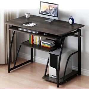Wooden Computer Desk Study Laptop PC Workstation Writing Tray Home Office Table