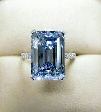 9ct Cocktail Party Ring Inspired 925 Sterling Silver Fancy Vivid Blue Emerald CZ