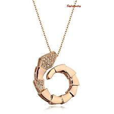 18k Rose Gold Filled Made with Swarovski  Women's Snake Necklace N99
