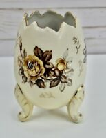 "Napco Vintage 5.5"" tall Footed Off White Decorative Egg  Brown Flower Japanese"