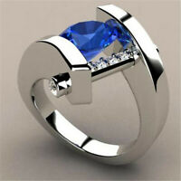 Fashion 925 Silver Blue Sapphire Wedding Ring Bride Women  Engagement Jewelry