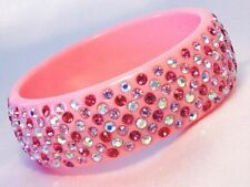 Light Pink Bangle Bracelet Summer Wide Lucite Accented with Colored Crystals