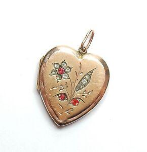 9 Carat Back And Front Paste Set Flower & Leaf Love Heart Photo Locket Pendant