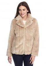 $170 New Nine West Jeans Lori Faux Fur Mink Jacket Size 6, Eggshell Cream