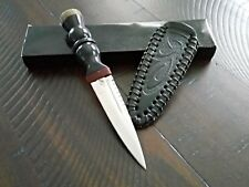 """NEW 7"""" Stainless Scottish DIRK Detailed Stainless DAGGER & Tooled Leather Sheath"""