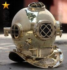"VINTAGE U.S NAVY MARK V SOLID COPPER & BRASS DIVING DIVERS HELMET 18"" GIFT"