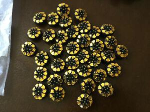 "Vtg multi Rhinestone Black/white Fabric covered Buttons 1 1/8"" & 1""  Union shank"