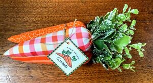 Primitive/Country Handmade 3pc Fabric Carrot Bunches w/Tag Spring Easter