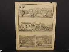 Ilinois Cass County Map Saloon Alms House 4 Farms 1874 !J15#03