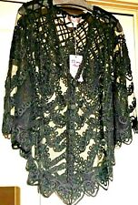 Pretty Angel beautiful sheer embroidered lace over dress jacket Large Black