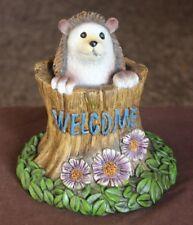 "Northcrest Garden Statue with ""Welcome"" Sign (Hedgehog) - New"