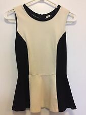 Aritzia Wilfred Women's SZ 0 Peplum Tank Top Ivory Cream Black