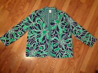 ALFRED DUNNER REVERSIBLE LIGHT JACKET OPEN FRONT GREEN BLUE GEO / FLORAL EUC 18