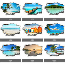 Beach Paradise Tropical Sea Ocean 3D Art Wall Stickers, Wall Mural Vinyl Decals