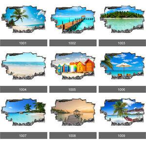 Beach Paradise Tropical Sea Ocean 3D Art Wall Stickers, Wall Mural Vinyl Decals
