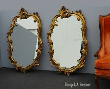 Pair Vintage French Provincial Rococo Ornate Scrolled Gold Wall Mantle Mirrors