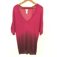 CHICO'S Womens Rayon Ombre Pink Batwing Short Sleeve Knit V Neck Sweater Medium