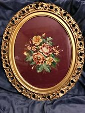 Antique Floral Needlepoint Wall Art Picture Oval Wood Frame