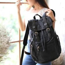 Black Brown RETRO CANVAS LEATHER BACKPACK RUCKSACK BAG School Uni Student S260