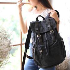 Black Brown Retro Canvas Leather Backpack Rucksack Bag School Uni Student S260 Granite Black