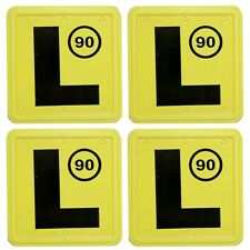 4 Learner L Plates (90) - Black L on Yellow Background Suitable for NSW