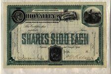Ohio Valley Railway Company Stock Certificate Kentucky Green