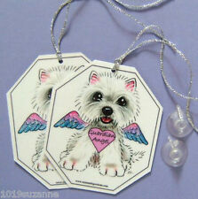 West Highland White Terrier dog art angel signs from painting by Suzanne Le Good